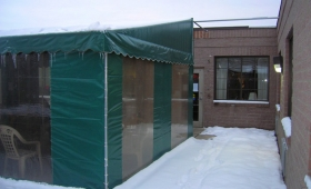 Stationary Patio Awning with Winter Curtains - North Olmsted, Ohio